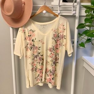Lucky Brand XL Floral Ivory Graphic Tee Top